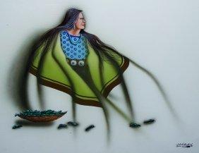 Robert Redbird Sr Painting Of Native American Lady