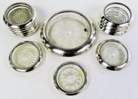 Set Of 11 Sterling Silver Coasters & Wine Holder