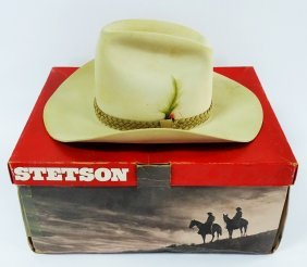 Vintage Stetson Tan Cowboy Hat W/original Box