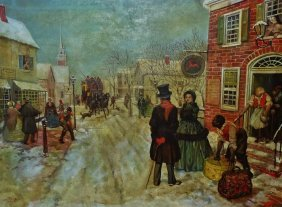 Large Oil On Canvas Painting Of A Village Scene