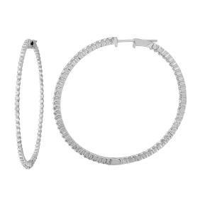 14K White Gold 1.88CTW Diamond Hoop Earring -