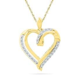 0.1 Ctw Natural Diamond Heart Love Valentines Pendant