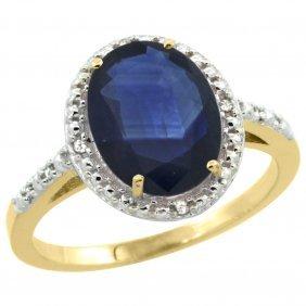 Natural 2.42 Ctw Blue-sapphire & Diamond Engagement