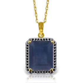 Genuine 6.6 Ctw Sapphire & Black Diamond Necklace
