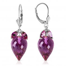 Genuine 20 Ctw Amethyst Earrings Jewelry 14kt White