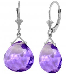 Genuine 17 Ctw Amethyst Earrings Jewelry 14kt White