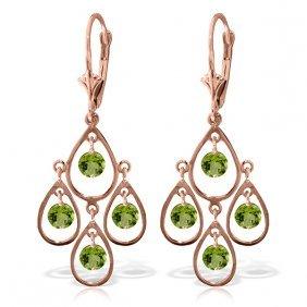 Genuine 2.4 Ctw Peridot Earrings Jewelry 14kt Rose Gold