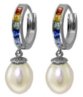 Genuine 9.3 Ctw Multi-color Sapphire & Pearl Earrings