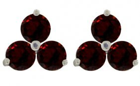 Genuine 1.5 Ctw Garnet Earrings Jewelry 14kt White Gold