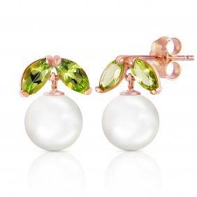Genuine 4.4 Ctw Pearl & Peridot Earrings Jewelry 14kt
