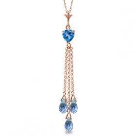 Genuine 4.75 Ctw Blue Topaz Necklace Jewelry 14kt Rose