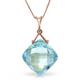 Genuine 8.75 Ctw Blue Topaz Necklace Jewelry 14kt Rose