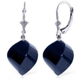 Genuine 30.5 Ctw Sapphire Earrings Jewelry 14kt White