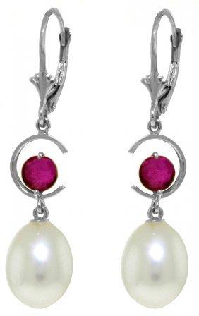 Genuine 9 Ctw Pearl & Ruby Earrings Jewelry 14kt White