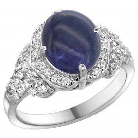 Natural 3.02 Ctw Lapis-lazuli & Diamond Engagement Ring