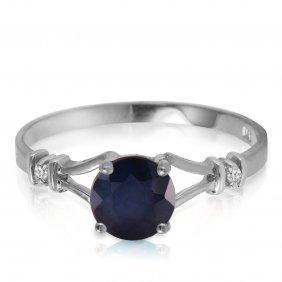 Genuine 1.02 Ctw Sapphire & Diamond Ring Jewelry 14kt
