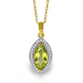 Genuine 2.15 Ctw Peridot & Diamond Necklace Jewelry
