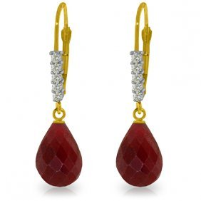 Genuine 17.75 Ctw Ruby & Diamond Earrings Jewelry 14kt