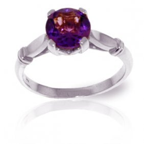 Genuine 1.15 Ctw Amethyst Ring Jewelry 14kt White Gold