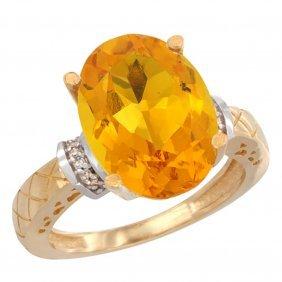 Natural 5.53 Ctw Citrine & Diamond Engagement Ring 14k
