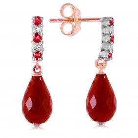 Genuine 6.9 Ctw Ruby & Diamond Earrings Jewelry 14kt