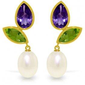 Genuine 16.6 Ctw Pearl, Peridot & Amethyst Earrings
