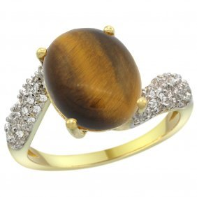 Natural 4.45 Ctw Tiger-eye & Diamond Engagement Ring