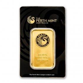 One Pc. 50 Gram .9999 Fine Gold Bar - Perth Mint In