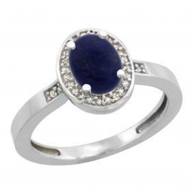Natural 0.83 Ctw Lapis & Diamond Engagement Ring 10k