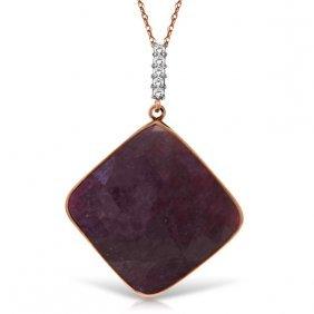 Genuine 20.33 Ctw Ruby & Diamond Necklace Jewelry 14kt