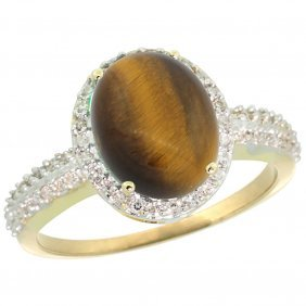 Natural 2.56 Ctw Tiger-eye & Diamond Engagement Ring