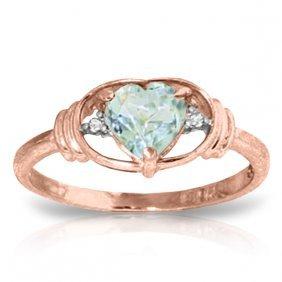 Genuine 0.96 Ctw Aquamarine & Diamond Ring Jewelry 14kt