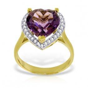 Genuine 3.24 Ctw Amethyst & Diamond Ring Jewelry 14kt