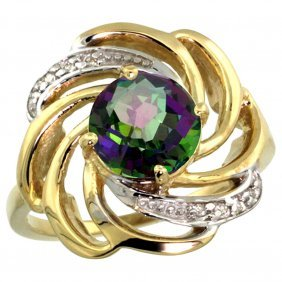 Natural 2.25 Ctw Mystic-topaz & Diamond Engagement Ring