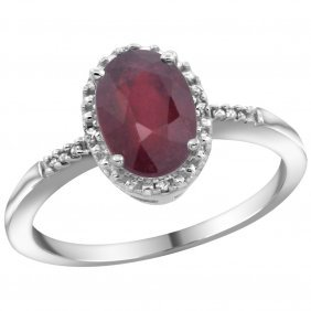 Natural 1.5 Ctw Ruby & Diamond Engagement Ring 10k
