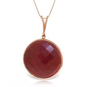 Genuine 23 Ctw Ruby Necklace Jewelry 14kt Rose Gold -