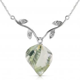 Genuine 13.02 Ctw Green Amethyst & Diamond Necklace