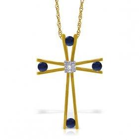 Genuine 0.53 Ctw Sapphire & Diamond Necklace Jewelry