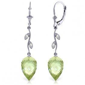 Genuine 19.02 Ctw Green Amethyst & Diamond Earrings