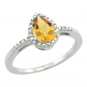 Natural 1.53 Ctw Citrine & Diamond Engagement Ring 10k