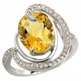Natural 6.53 Ctw Citrine & Diamond Engagement Ring 14k
