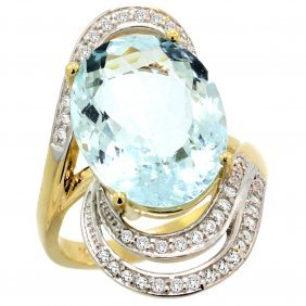 Natural 11.2 Ctw Aquamarine & Diamond Engagement Ring