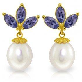 Genuine 9.5 Ctw Tanzanite & Pearl Earrings Jewelry 14kt