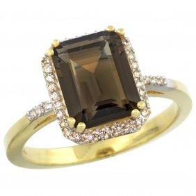 Natural 2.63 Ctw Smoky-topaz & Diamond Engagement Ring