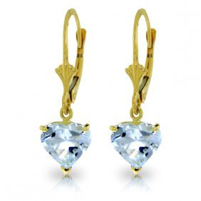 Genuine 3.05 Ctw Aquamarine Earrings Jewelry 14kt