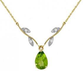 Genuine 1.52 Ctw Peridot & Diamond Necklace Jewelry