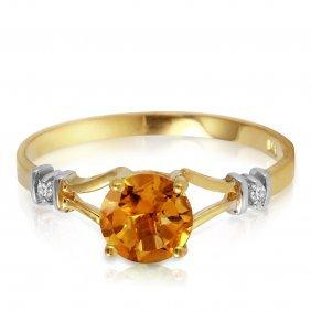 Genuine 1.02 Ctw Citrine & Diamond Ring Jewelry 14kt