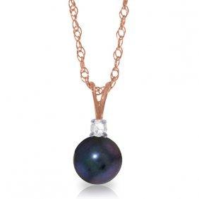 Genuine 2.05 Ctw Black Pearl & Diamond Necklace Jewelry