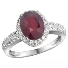 Natural 2.3 Ctw Ruby & Diamond Engagement Ring 10k