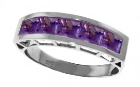 Genuine 2.25 Ctw Amethyst Ring Jewelry 14kt White Gold